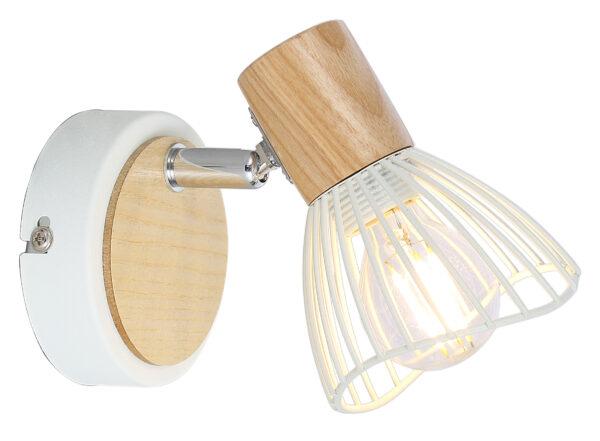 CHILE LAMPA KINKIET 1XMAX25W E14 BIAŁY + DREWNO - 91-61614