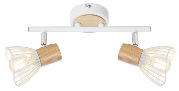 CHILE LAMPA SUFITOWA LISTWA 2XMAX25W E14 BIAŁY + DREWNO - 92-61621