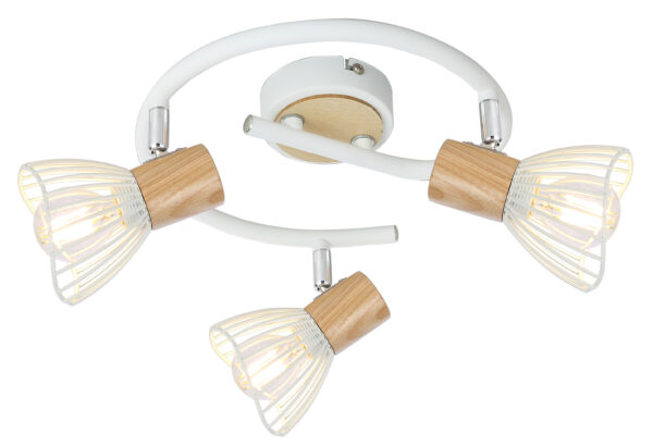 CHILE LAMPA SUFITOWA SPIRALA 3XMAX25W E14 BIAŁY + DREWNO - 98-61652