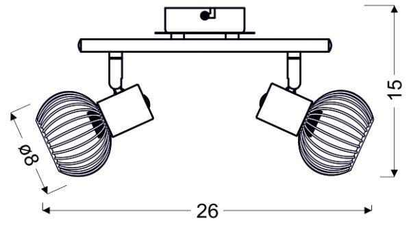 OSLO LAMPA SUFITOWA LISTWA 2X40W E14 BIAŁY/ZŁOTY - 92-61805