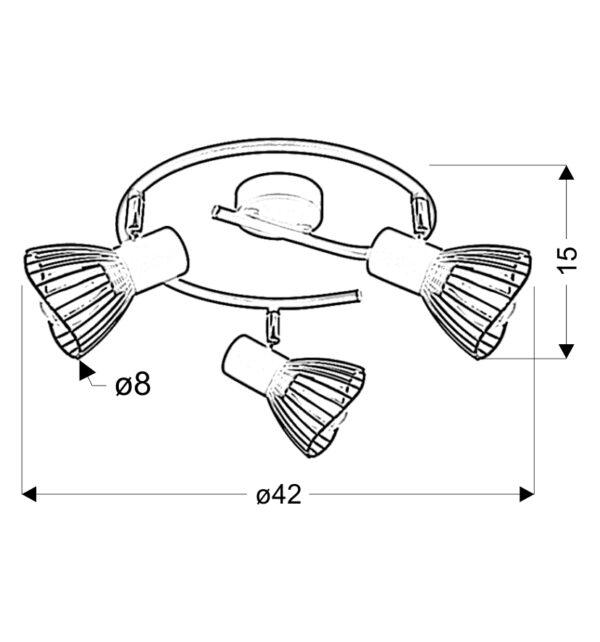 FLY LAMPA SUFITOWA SPIRALA 3X40W E14 CZARNY - 98-61935