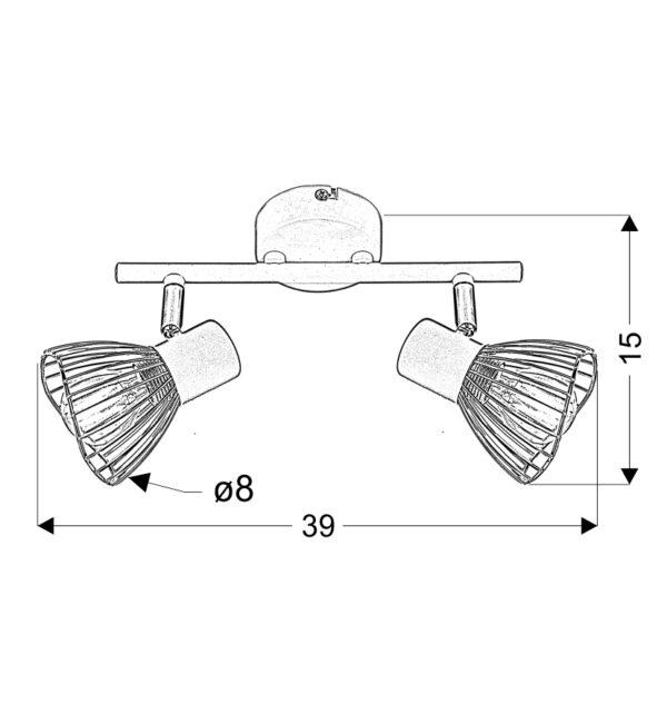 FLY LAMPA SUFITOWA LISTWA 2X40W E14 BIAŁY/CHROM - 92-61966