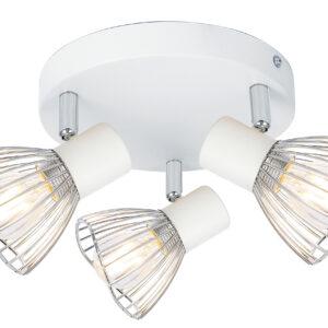 FLY LAMPA SUFITOWA PLAFON 3X40W E14 BIAŁY/CHROM - 98-61980