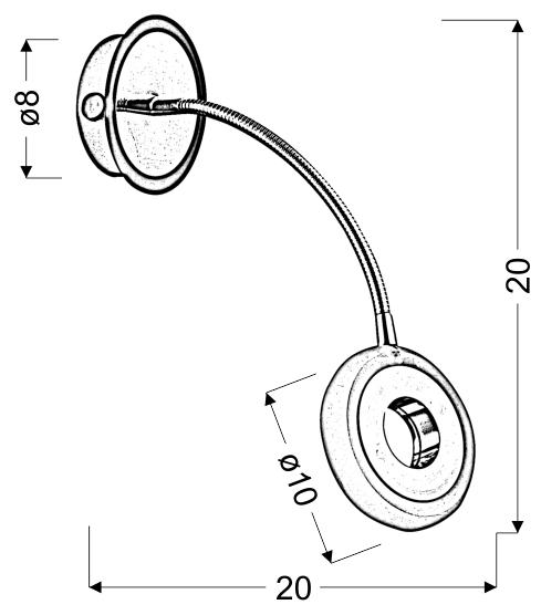 ARM LAMPA KINKIET 1X5W LED CZARNY/CHROM - 21-62628