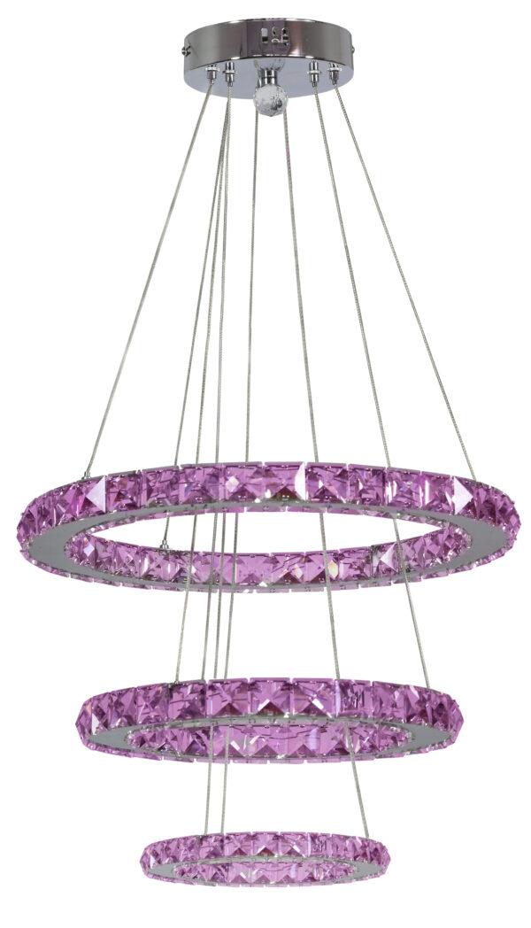LORDS LAMPA WISZĄCA 50 OKRĄGŁY POTRÓJNY 48W LED RGB CHROM Z PILOTEM - 33-63090