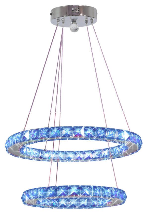 LORDS LAMPA WISZĄCA 40 OWALNY PODWÓJNY 27W LED RGB CHROM Z PILOTEM - 32-63106