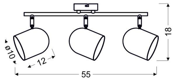 AZURO LAMPA SUFITOWA LISTWA 3X40W E27 BIAŁY - 93-63267