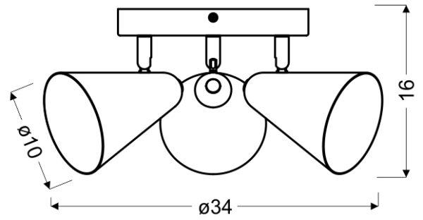AMOR LAMPA SUFITOWA PLAFON 3X40W E14 SZARY MAT - 98-63328