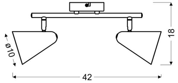 AMOR LAMPA SUFITOWA LISTWA 2X40W E14 SZARY MAT - 92-63335