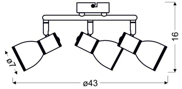 FIDO LAMPA SUFITOWA SPIRALA 3X40W E14 BIAŁY+CHROM - 98-63380