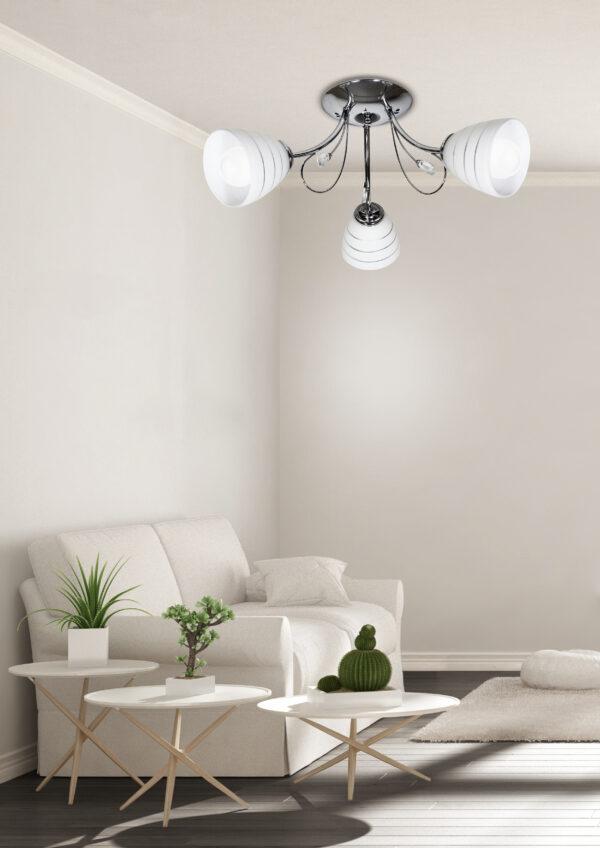 SIMPLI LAMPA WISZĄCA 3*40W E27  CHROM  Z KRYSZTAŁKIEM+KLOSZ Z PASKIEM - 33-63847