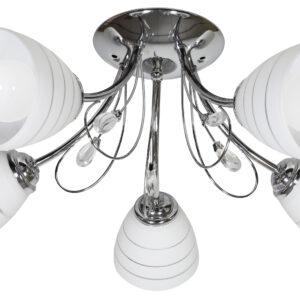 SIMPLI LAMPA WISZĄCA 5*40W E27  CHROM  Z KRYSZTAŁKIEM+KLOSZ Z PASKIEM - 35-63854