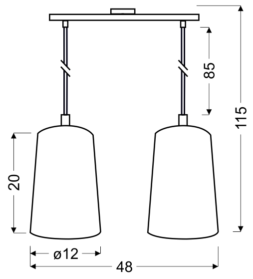 VISTA LAMPA WISZĄCA 2X60W E27 BIAŁY - 32-64271