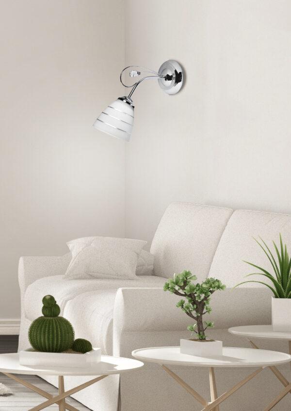 SIMPLI LAMPA KINKIET 1*40W E27 CHROM  Z KRYSZTAŁKIEM+KLOSZ Z PASKIEM - 21-64288