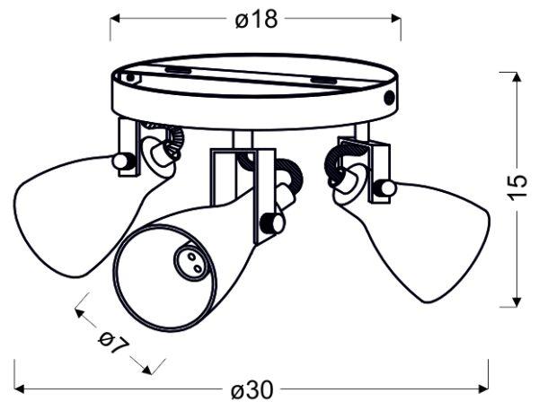 ASH LAMPA SUFITOWA PLAFON 3X40W GU10 SZARY MAT - 98-64325