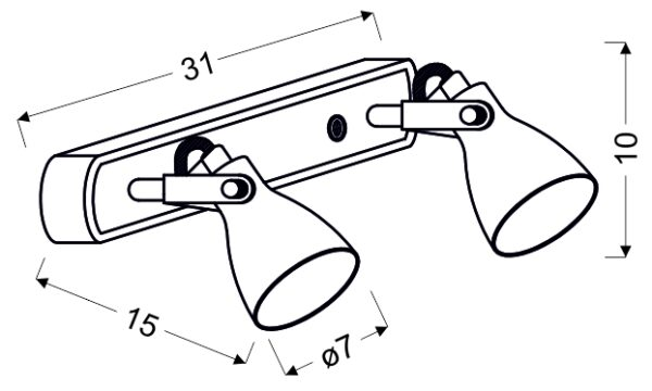 ASH LAMPA SUFITOWA LISTWA 2X40W GU10 SZARY MAT - 92-64400