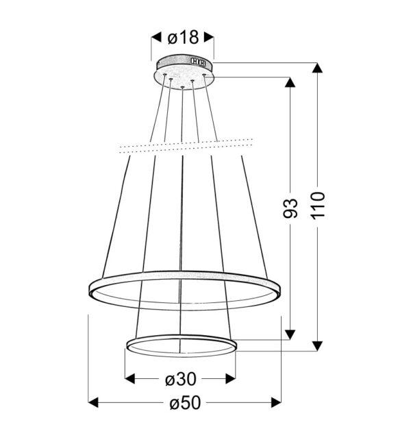 LUNE LAMPA WISZĄCA 50 OKRĄGŁY PODWÓJNY 40W LED 4000K CHROM - 32-64769
