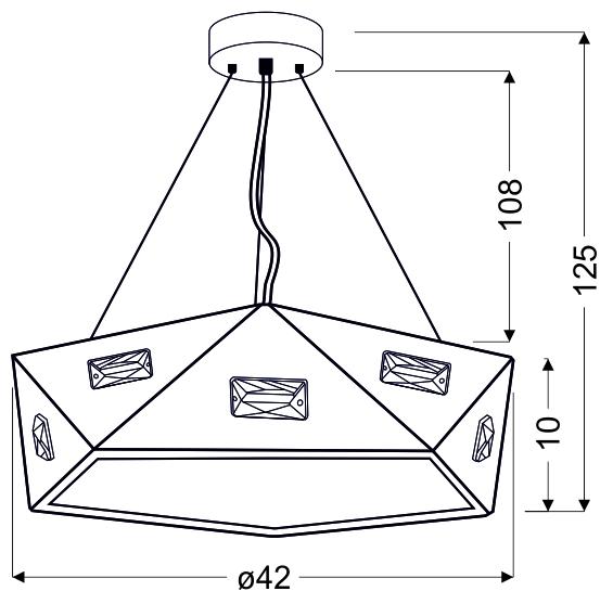 NEMEZIS LAMPA WISZĄCA PIĘCIOKATNY 42 24W LED 4000K CZARNY - 31-64882