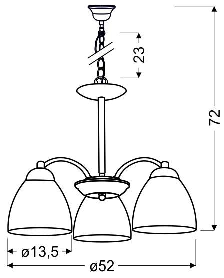 ULI LAMPA WISZĄCA 3X60W E27 SATYNA - 33-66152