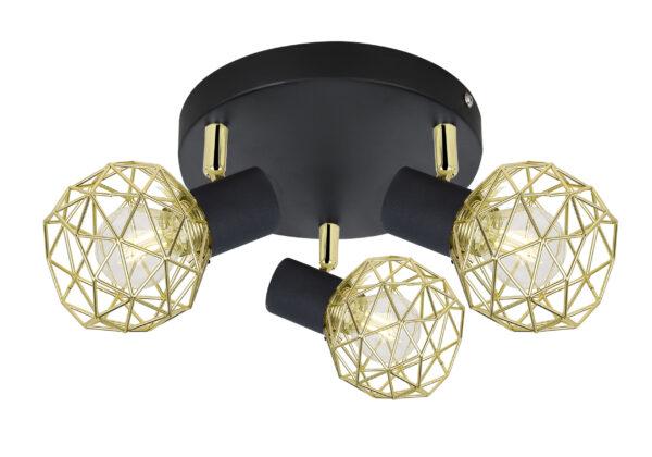 ACROBAT LAMPA SUFITOWA PLAFON 3X40W E14 CZARNY KLOSZ ZŁOTY - 98-66466