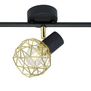 ACROBAT LAMPA SUFITOWA LISTWA 3X40W E14 CZARNY KLOSZ ZŁOTY - 93-66640