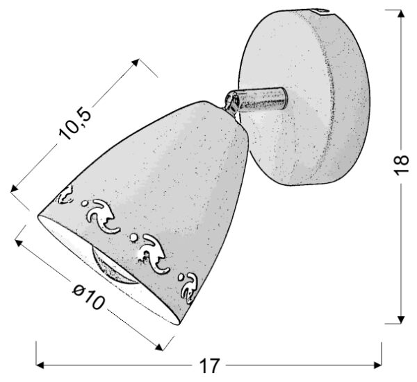 COTY LAMPA KINKIET 1X40W E14 CZARNY - 91-67159