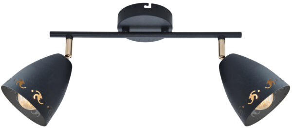 COTY LAMPA SUFITOWA LISTWA 2X40W E14 CZARNY - 92-67166