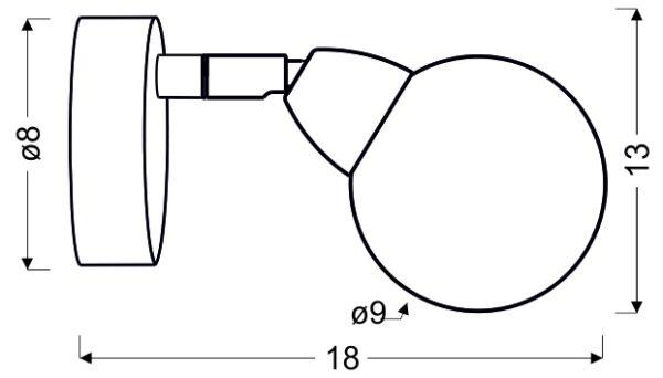 BOLO LAMPA KINKIET 1X6W LED SMD GŁÓWKA 6 OKRĄGŁA 1E Z PRZEGUBEM KLOSZ WYMIENNY KD SYSTEM CHROM/BEZBARWNY - 91-67517