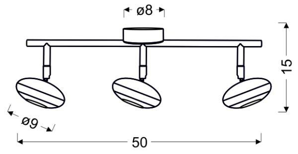 SKIPPER LAMPA SUFITOWA LISTWA 3X6W LED COB GŁÓWKA OKRĄGŁA 1E Z PRZEGUBEM KD SYSTEM CHROM - 93-67623