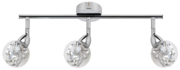BOLO LAMPA SUFITOWA LISTWA 3X6W LED SMD GŁÓWKA OKRĄGŁA 1E Z PRZEGUBEM KLOSZ WYMIENNY KD SYSTEM CHROM/BEZBARWNY - 93-67647