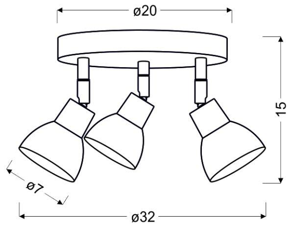 ROY LAMPA SUFITOWA PLAFON 3X5W LED COB GŁÓWKA OKRĄGŁA 1E Z PRZEGUBEM KD SYSTEM BIAŁY - 98-67678