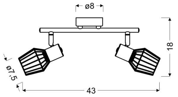VIKING LAMPA SUFITOWA LISTWA 2X40W E14 SZARY - 92-68026