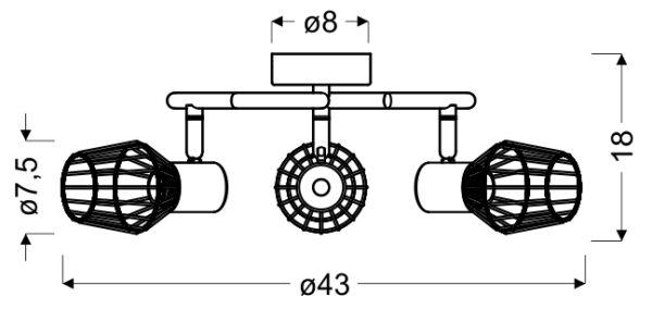 VIKING LAMPA SUFITOWA SPIRALA 3X40W E14 SZARY - 98-68040