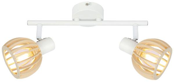ATARRI LAMPA SUFITOWA LISTWA 2X25W E14 BIAŁY+DREWNO - 92-68088