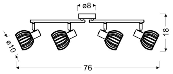 ATARRI LAMPA SUFITOWA LISTWA 4X25W E14 BIAŁY+DREWNO - 94-68101