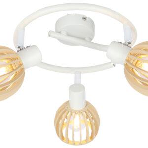 ATARRI LAMPA SUFITOWA SPIRALA 3X25W E14 BIAŁY+DREWNO - 98-68125