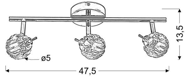 BOMBOLA LAMPA SUFITOWA LISTWA 3X40W G9 CHROM BEZ ŻARÓWEK - 93-70302