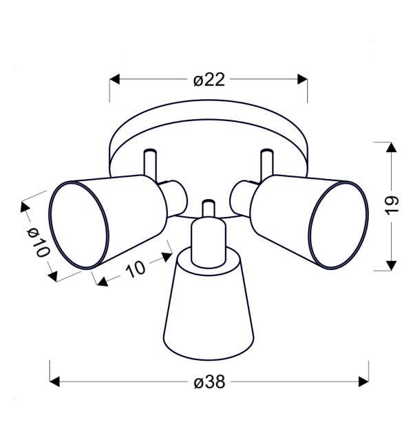 PIN LAMPA SUFITOWA PLAFON 3X40W E14 CHROM - 98-70661