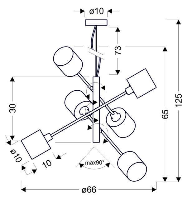 SAX LAMPA WISZĄCA LINKA 6X40W E14 SATYNA - 36-70722