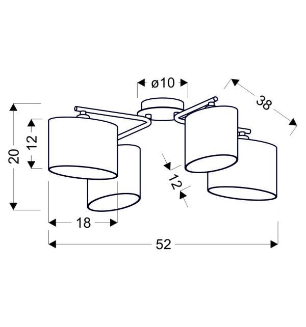 BAN LAMPA SUFITOWA 4X40W E14 CHROM - 34-70784