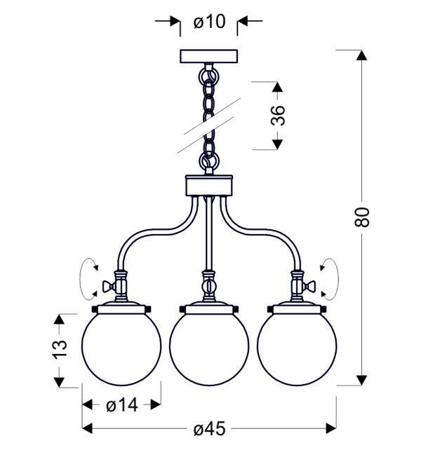 BALLET LAMPA WISZĄCA 3X40W E27 PATYNOWY - 33-70869
