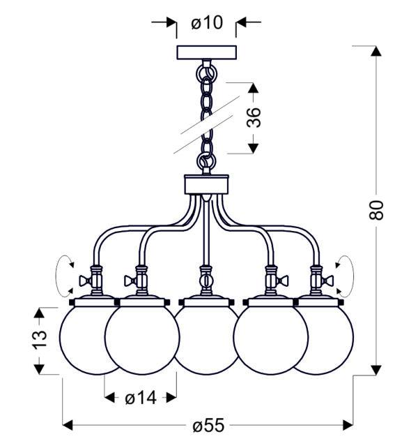 BALLET LAMPA WISZĄCA 5X40W E27 PATYNOWY - 35-70876