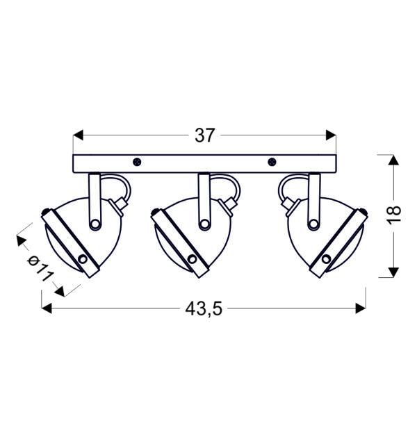 FRODO LAMPA SUFITOWA LISTWA 3X40W GU10 RDZAWY - 93-71088