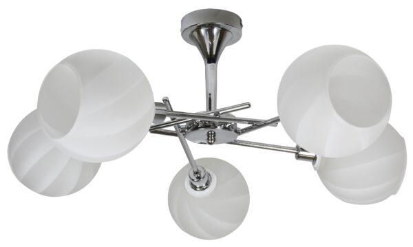 RAUL LAMPA WISZĄCA 5X40W E14 CHROM KLOSZ BIAŁY - 35-72269