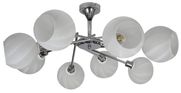 RAUL LAMPA WISZĄCA 8X40W E14 CHROM KLOSZ BIAŁY - 38-72290