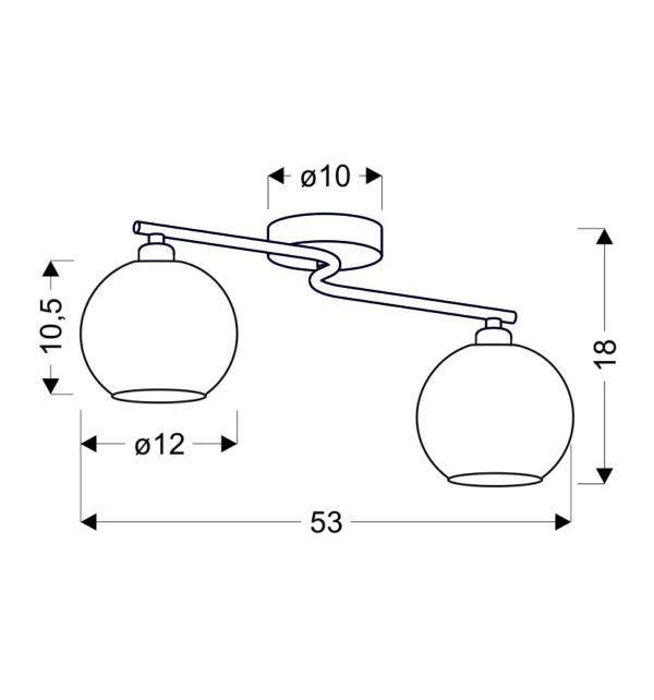 JOSH LAMPA SUFITOWA 2X60W E14 CHROM - 32-72641