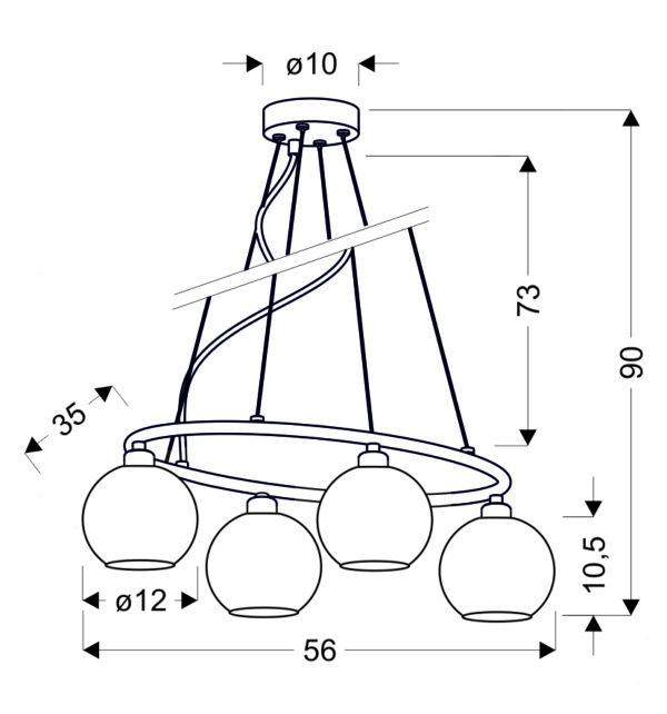 JOSH LAMPA WISZĄCA 4X60W E14 CHROM - 34-72665