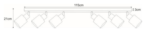 Lampy na listwie K-4588 z serii TROY GRAY