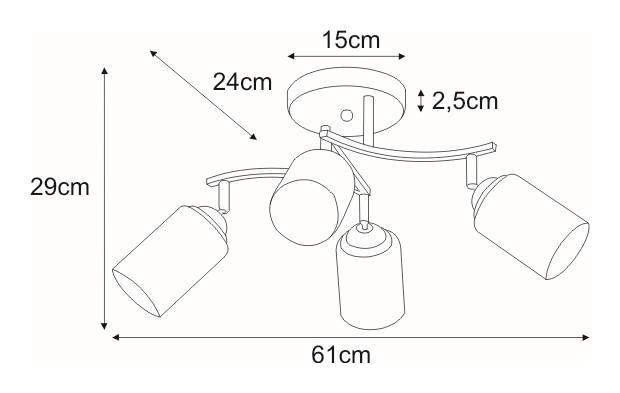 Lampa sufitowa K-JSL-6090/4 CHR z serii ALIX