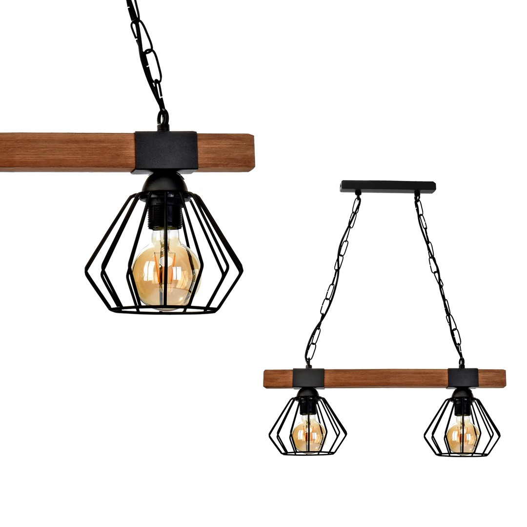 Lampa wisząca ULF BLACK / WOOD 2xE27 60W - MLP6192